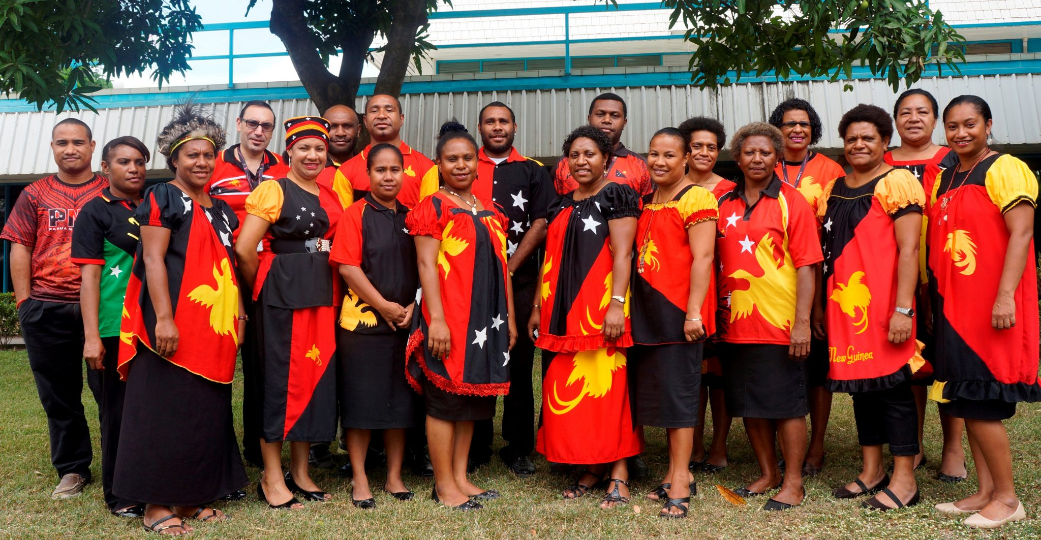 Air Niugini staff celebrating PNG's 41st Independence anniversary