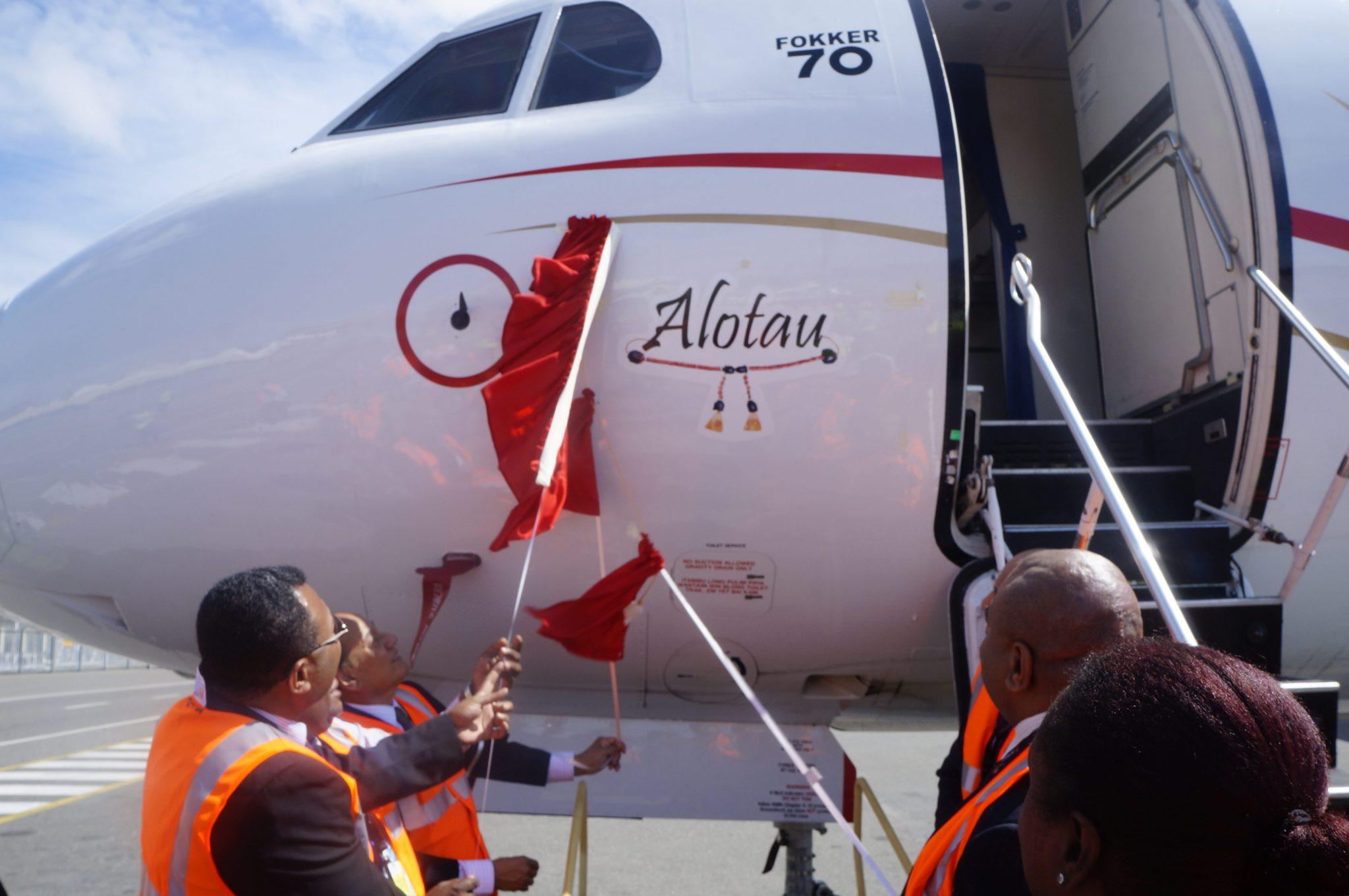 """Naming of the third Fokker 70 aircraft """"Alotau"""""""