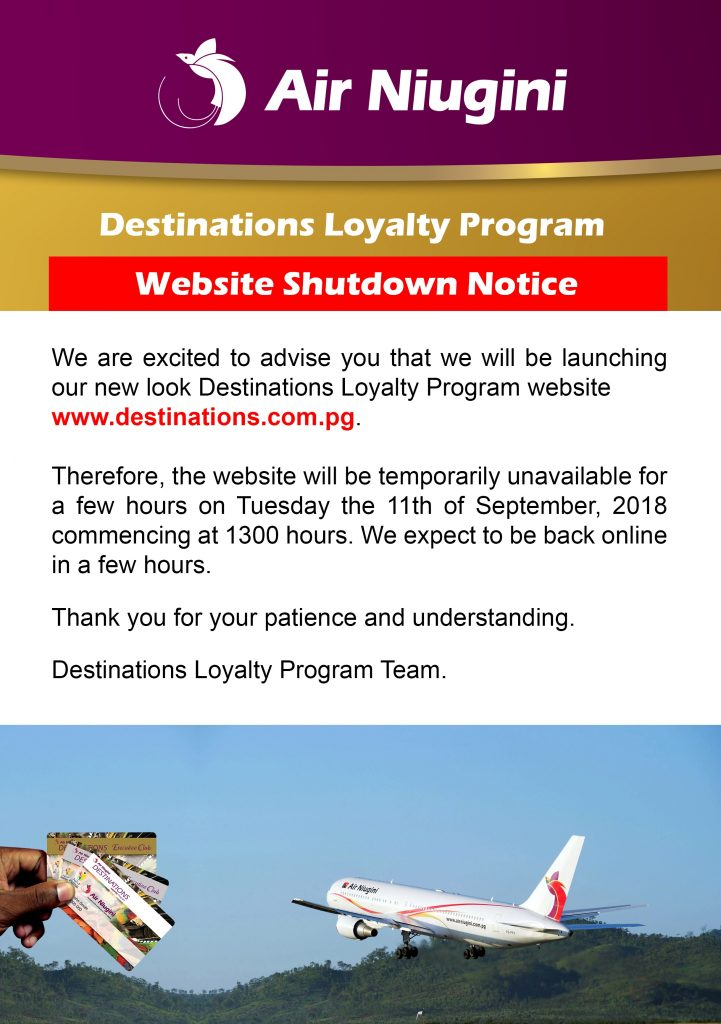 Destinations Website Shutdown Notice